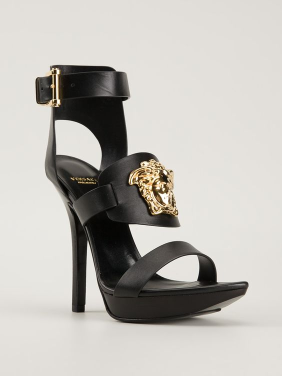 Versace Black Medusa Platform Sandals Shoes Heels HighHeels