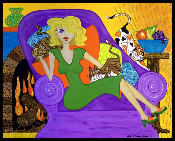 Lisa Frances Judd  — Chillin - with My Cats,  2010   (800x646):