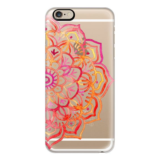 iPhone 6 Plus/6/5/5s/5c Case - Watercolor Medallion in Sunset Colors... (57 AUD) ❤ liked on Polyvore featuring accessories, tech accessories, phone cases, phone, electronics, cases, iphone case, transparent iphone case, iphone cover case and apple iphone cases