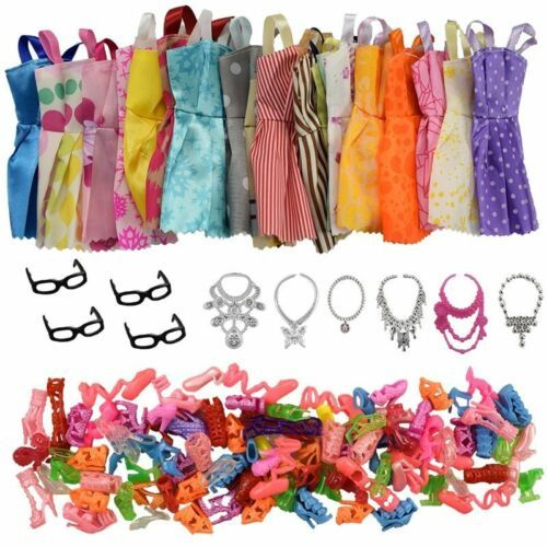 Set 32 Accessories And Clothes Barbie Doll Party Dress Outfit Glasses Shoes