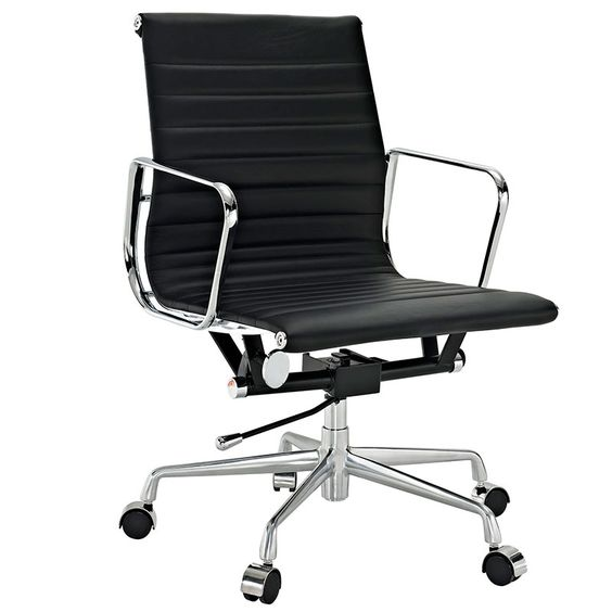 New Fall 2014 Products-- The Corey Low Back Office Chair | Sleek | This modern classic design comes with a genuine leather seat and back, easy to use tilt and tilt lock mechanism, and a chrome five star base. Relax in your home office, conference room, or office desk in style and comfort with this beautiful design. The chrome arms shape similarly to a parallelogram in shape while the backrest slightly curves to help with posture.
