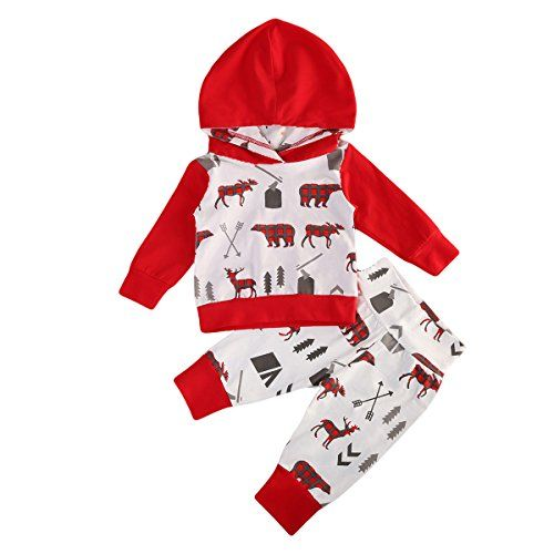 Baby Girls Boys Long Sleeve Christmas Cartoon Deer Pullover Tops Pants Outfits Set