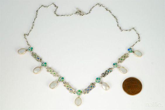 ANTIQUE SILVER ENAMEL PEARL ART & CRAFTS ART NOUVEAU NECKLACE MURRLE BENNETT in Jewelry & Watches, Vintage & Antique Jewelry, Fine   eBay