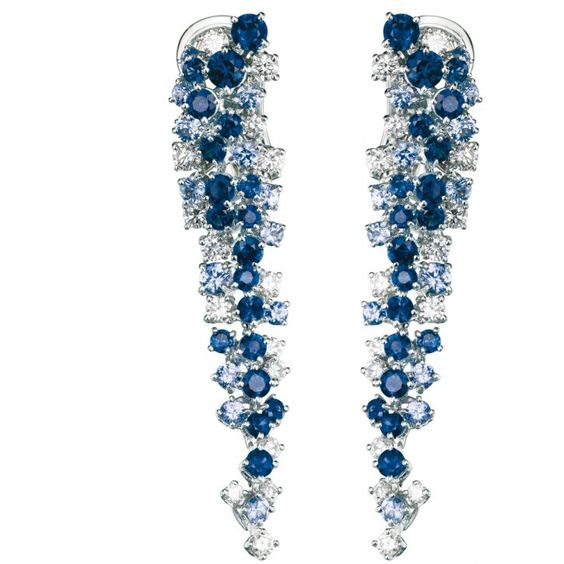 Damiani's Mimosa earrings with a cascade of blue sapphires and diamonds set in white gold ♥