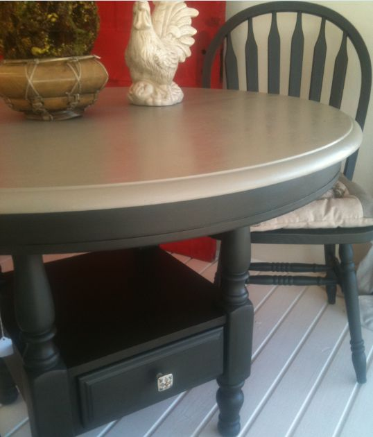 Round kitchen table and chairs painted with annie sloan graphite ...