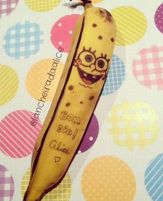 Recadinhos carinhosos na lancheira! ❤️ Banana divertida - Bob Esponja