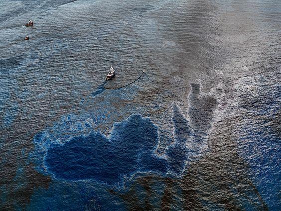 Edward Burtynsky Oil Spill #4,  Oil Skimming Boat, Near Ground Zero, Gulf of Mexico, June 24, 2010