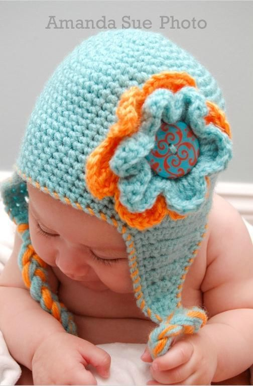 Blue Flowered Earflap Hat