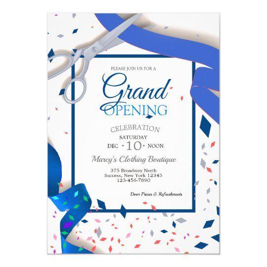 Grand Opening Event Blue Ribbon Invitation Zazzle Com In 2021 Ribbon Invitation Grand Opening Invitations Shop Opening Invitation Card