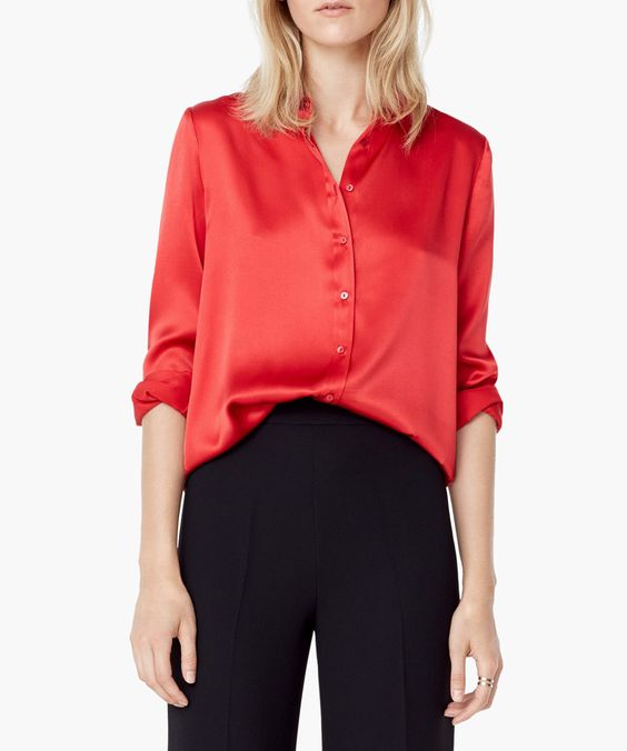 Mango red pure silk blouse