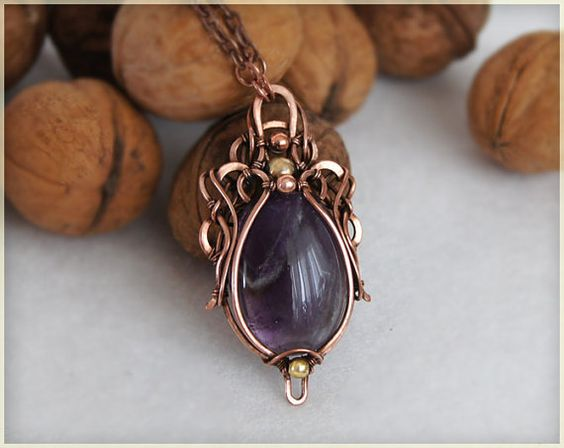 Amethyst stone pendant necklace wire wrapped by WireColibri