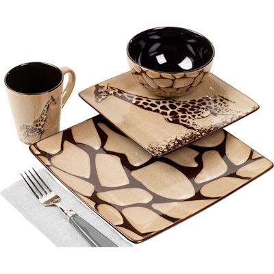 Giraffe 16-Piece Square Dinnerware Set. Not saying I'd want these for college or anything...