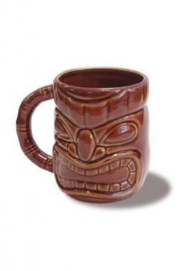 Hawaii Coffee Mug Tiki Mug Dark Brown