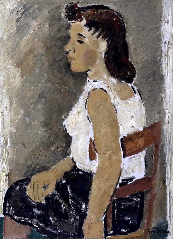 Seated woman in white blouse (Femme assise en corsage blanc), 1938, by Gustave De Smet (1877–1943),