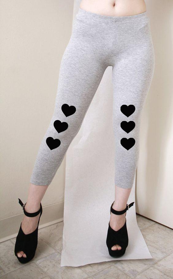 A Line of Heart  Womens Grey Leggings Capri Style by rabbitandeye, $22.50