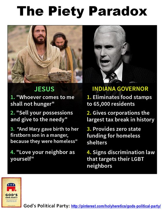 "The Piety Paradox: America is simultaneously the most professedly Christian of the developed nations and the least Christian in its behavior. http://www.marioninstitute.org/node/230 God's Political Party: The Ten Commandments of our Party of God. https://www.pinterest.com/pin/540924605219994639/ ""The fruits of Christianity were religious wars, butcheries, crusades, inquisitions, extermination of the natives in America, and the introduction of African slaves in their place"" - Arthur Schopenhauer"