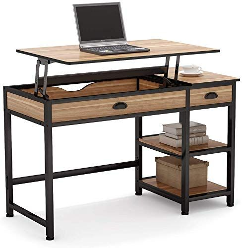 New Tribesigns Rustic Lift Top Computer Desk Drawers 47 Inch Writing Desk Study Table Workstation Storage Shelves Height Adjustable Standing Desk Home Office In 2020 Adjustable Standing Desk Height Adjustable Computer