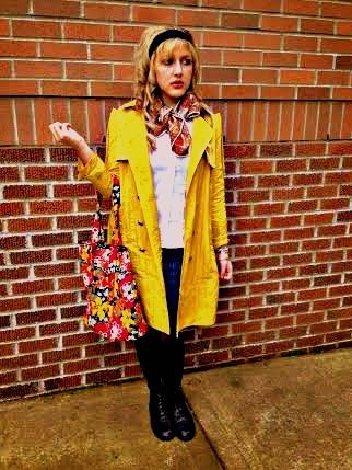 Versace of Couture: #versaceofcouture #verabradley #designtoday's #drmartens #forever21 #paisly #yellow #trenchcoat #combatboots #paislyscarf #headband #lookbook #fossil #fashion #2014 #style #portland #oregon