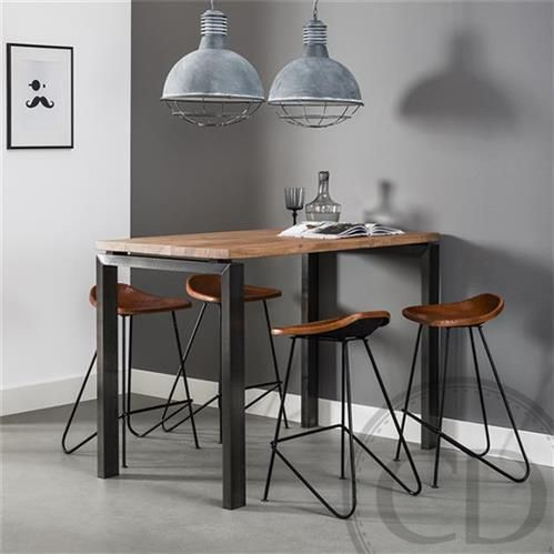 Table Haute De Cuisine Industrielle Pieds Metal Acacia Table