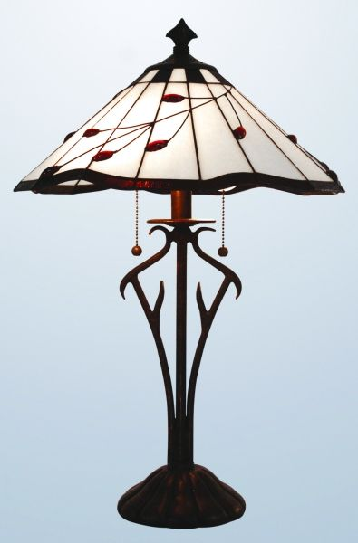 Beautiful ruby leaf tiffany table lamp (Large)
