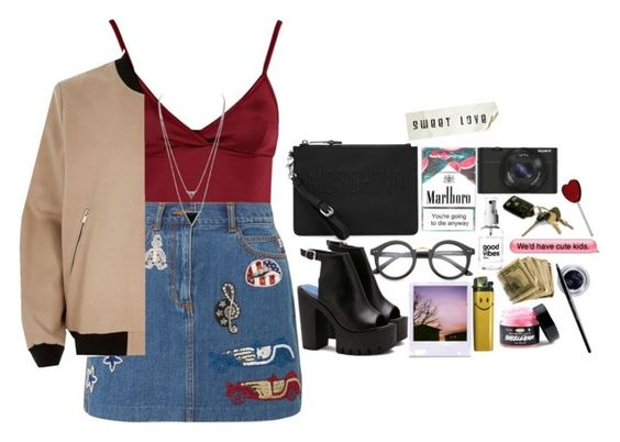 """""""Look by:Melanie"""" by melanie-pacheco ❤ liked on Polyvore featuring Lipsy, Sony, Marc Jacobs, Maybelline, House of Harlow 1960, ZeroUV, River Island and Moschino"""