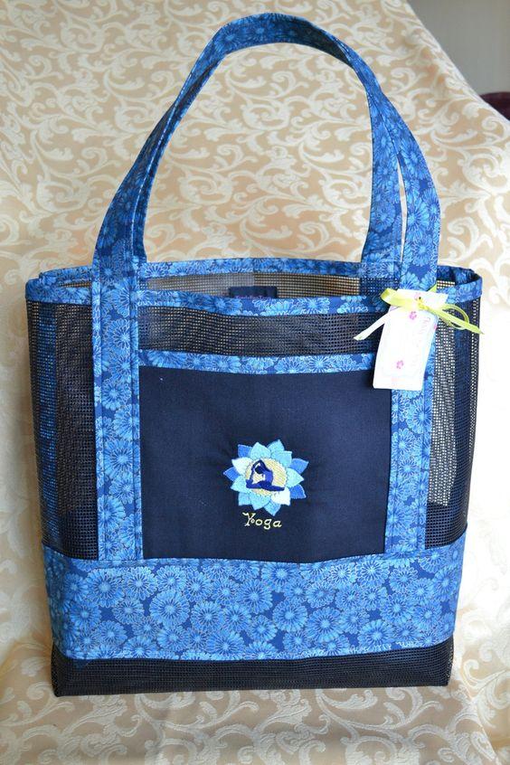 Mesh Tote Bag Pattern Tote Bag Yoga Lotus Flower Fabric
