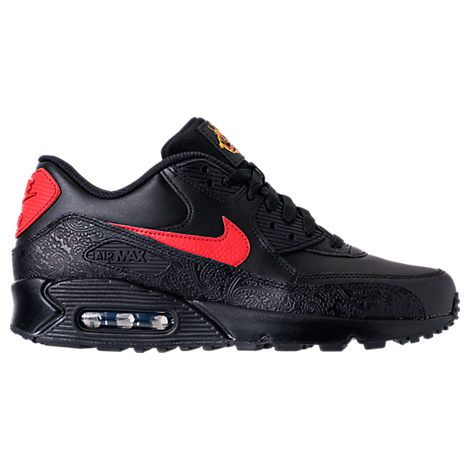 Nike Men's Air Max 90 Floral Casual Shoes, Black/red ...