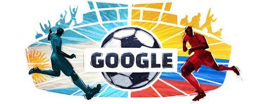 Copa América 2015 - Quarterfinals 3 - Argentina v Colombia. June 25, 2015 at Google in Argentina, Bolivia, Chile, Ecuador, Paraguay, Peru, Uruguay and Venezuela. #CuartosDeFinalCopaAmérica #CopaAmérica #Quaterfinals #Football #Soocer #GoogleDoodle