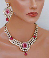 Goldpolish fusicha pink and white kundan set-1921