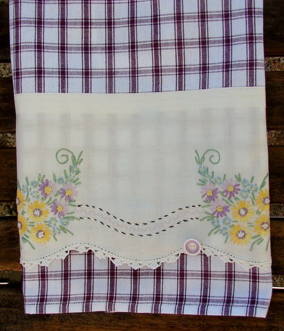 Summer Garden Tea Towel Recycled Vintage by TwoGirlsLaughing