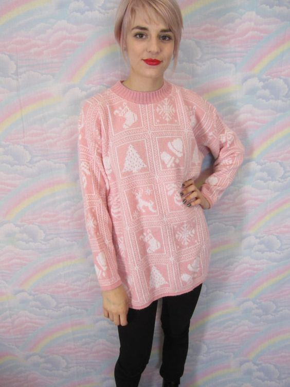 Pastel Ugly Christmas Sweater Kawaii 80s 90s Oversize Xmas Tacky Girly Femme Vintage Jumper Womens Size