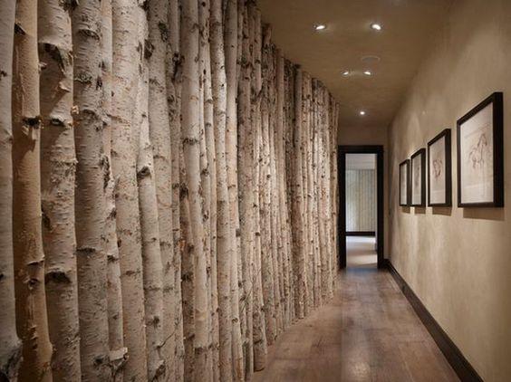 Deko aus Baumstämmen an der Wand im Flur  Astrid  Pinterest  Deko