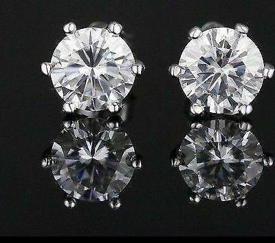 3Ct Round Cut Moissanite Push Back Bezel Set Stud Earrings 14K Yellow Gold Over