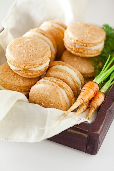 Carrot Cake Macarons with Maple Cream Cheese Frosting: