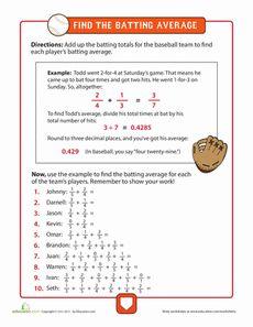 math worksheet : baseball math adding fractions worksheet  classroom sports  : Baseball Math Worksheets
