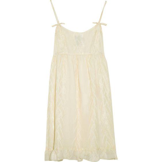 Anna Sui Textured Pattern Silk-Blend Dress ($217) ❤ liked on Polyvore featuring dresses, anna sui, vestidos, women, bow dress, scoop neck dress, empire waist dress, boho dress and embroidery dress