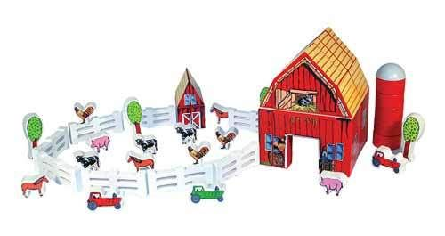 Melissa And Doug Wooden Farm Blocks Set 61 Pieces To Build A