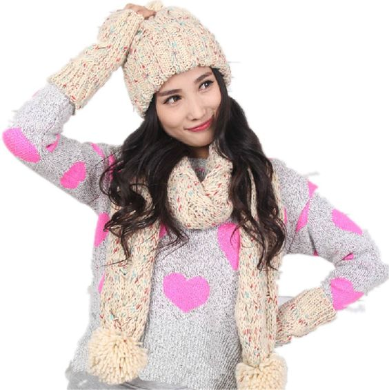 Winter Warm Girl Wool Hat/Scarf/Gloves Set Women Knitted Hat/Scarf/Mitten Beige