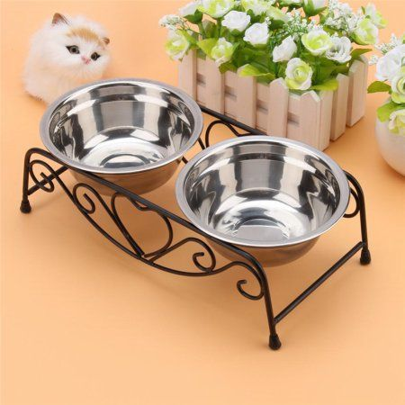 Dog Food Bowls Stainless Steel Pet Dog Cat Feeding Food Water