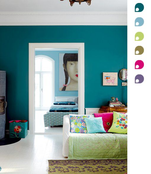 teal accent wall for master:
