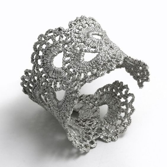 Sterling Silver Cast Lace --lovely! I would wear this to death, in a good way.: Lace Cuffs, Fabric Stiffener, Crochet Jewelry, Diy Craft, Cuff Bracelets, Diy Cuff, Crochet Bracelet, Lace Bracelet
