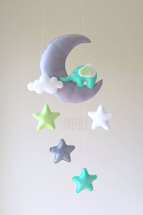 baby mobile mobile moon elephant mobile crib mobile elephant baby mobile stars baby. Black Bedroom Furniture Sets. Home Design Ideas