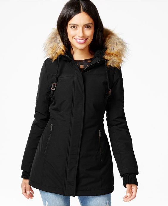 DKNY Faux-Fur-Trim Water-Resistant Hooded Parka - Coats - Women