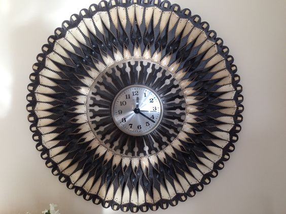 Retro Large Leather Wall Clock. Hand made from twists of black and white leather. by trevoranna on Etsy
