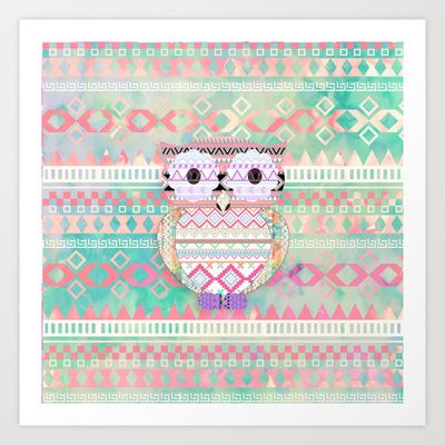 Hoot!  Whimsical Tribal Owl Pastel Girly Tie Dye Aztec Art Print by Girly Trend - $14.00