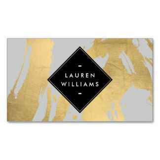 NEW Abstract Faux Gold Foil Brushstrokes on Gray Double-Sided Standard Business Cards (Pack Of 100)