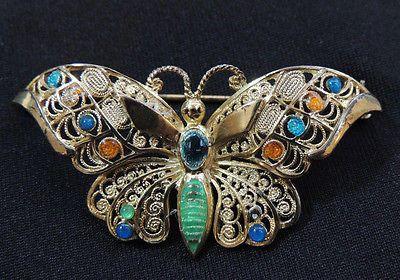 Alice Caviness Sterling & Enamel Gold Butterfly Brooch Vintage Germany.