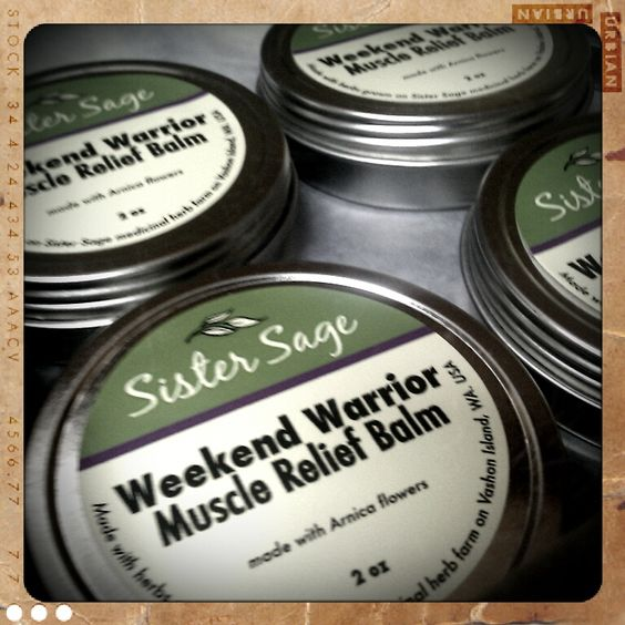 Weekend Warrior Muscle Balm is made from arnica flowers grown on Sister Sage Herb Farm. It is great for soothing sore muscles and helps to break up and remove bruises. www.sistersageherbs.com