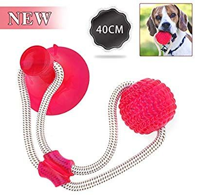Outerdo Pet Molar Bite Toy Suction Cup Rubber Ball Dog Chew Toys
