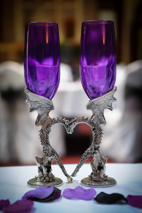 Gothic purple glass and pewter dragon goblets for a gothic wedding weddings pinterest - Pewter dragon goblet ...